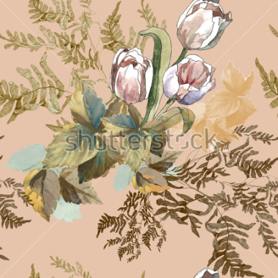 Cuadro 3 white tulips and grass watercolor on pink beige background seamless pattern for fabrics, paper