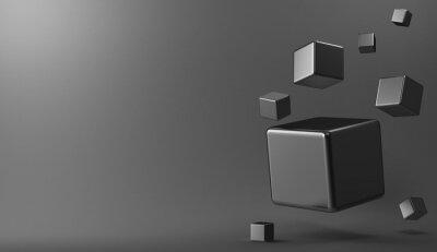 Cuadro 3d cubos de metal de fondo
