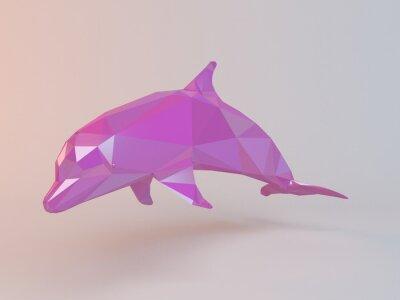 Cuadro 3D de color rosa bajo poly (delfín) dentro de una etapa blanca con alta calidad de render para ser utilizado como un logotipo, medalla, símbolo, forma, emblema, icono, la historia de los niños, o cual