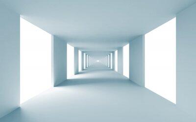 Cuadro 3d fondo abstracto de la arquitectura, corredor azul vacía
