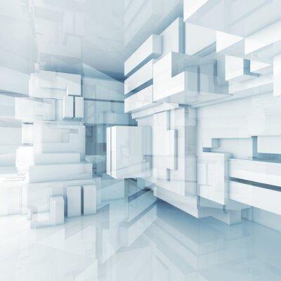 Cuadro 3d fondo azul de alta tecnología con cubos caóticas