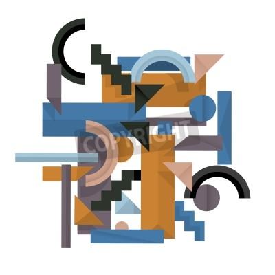 Cuadro 3d fondo geométrico en el estilo cubismo