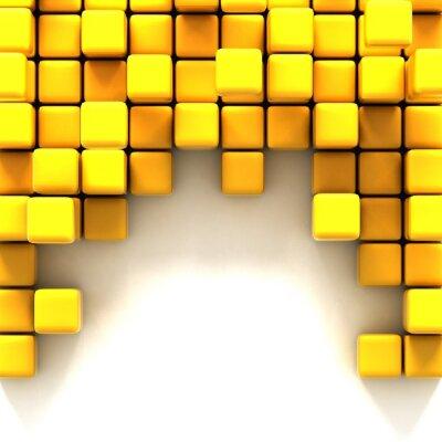 Cuadro 3d ilustración de cubos amarillos