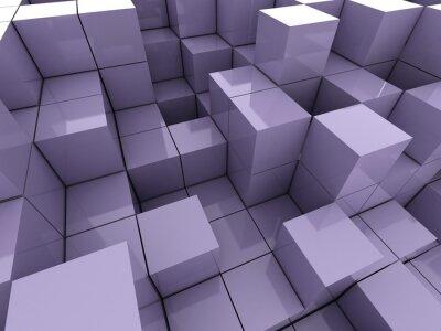 Cuadro 3d ilustración de cubos de color violeta