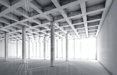 Cuadro 3D vacío interior con efecto de marco de alambre