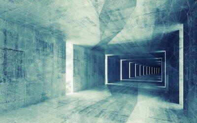 Cuadro 3d, verde con tonos de azul abstracta vacía bac interior de hormigón