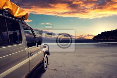 Cuadro 4WD en la playa