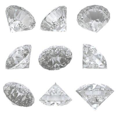 Cuadro 9 diamantes engastados en el fondo blanco - camino de recortes