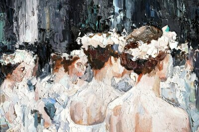 Cuadro  A group of beautiful graceful ballerinas in white dresses and with flowers in hair, in the theater are preparing for the performance. Oil painting on canvas.
