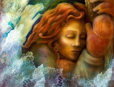 Cuadro A la cabeza de una mujer de hadas soñando con el pelo rojo y glowes invierno