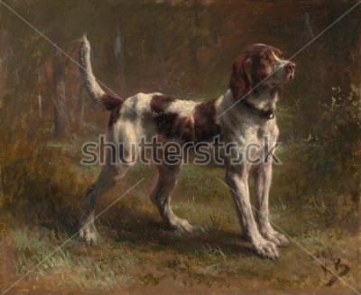 Cuadro A LIMIER BRIQUET HOUND, de Rosa Bonheur, 1856, pintura francesa, óleo sobre lienzo. Este fue un retrato del perro del Vicomte DArmaille. Bonheur fue maestro de pinturas de animales y el Eur más fam