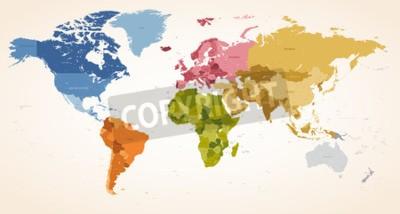 Cuadro A Vintage colores High Detail vector Mapa ilustración del mapa del mundo entero.