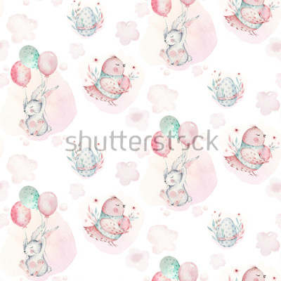 Cuadro A watercolor spring illustration of the cute easter baby bunny. Rabbit cartoon animal seamless pattern with balloon nd bird