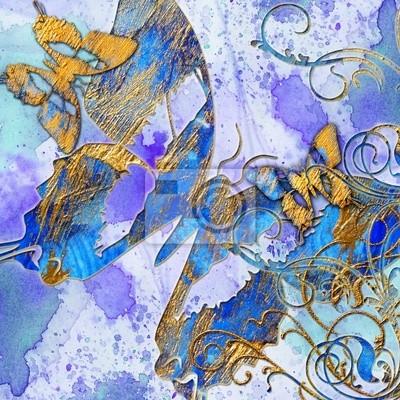 abstracción artístico azul con mariposas