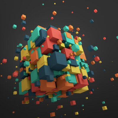 Cuadro Abstract 3D Rendering of Flying Cubes.