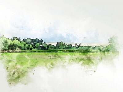 Cuadro Abstract colorful shape on tree and field landscape watercolor illustration painting background.