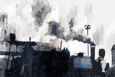 Cuadro Abstract painting of vintage train with smoke, digital painting