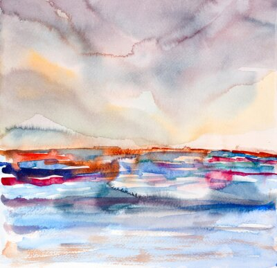 Cuadro abstracto colorido paisaje marino acuarela pintada