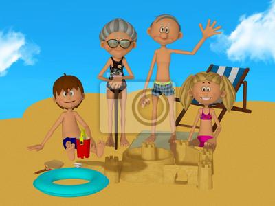Abuelos Dibujos Animados 3d Con Los Niños En La Playa Pinturas Para