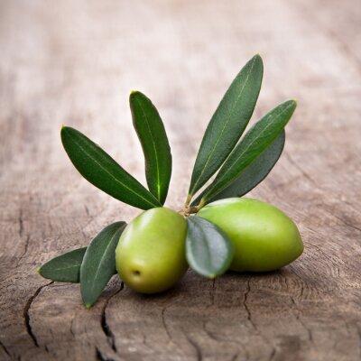 Cuadro aceitunas con hojas