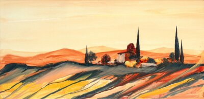 Cuadro Acrylfarben Gemälde einer stark farbigen bunten Toskana Landschaft mit Haus, Bäumen und Zypressen mit fließender Farbe, Farbspritzern und Tropfen mit Textfreiraum