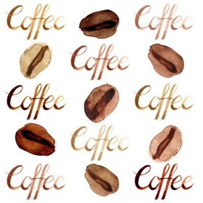 Cuadro Acuarela aislada ilustrada y pintada marrón café y conjunto de patrón de letras