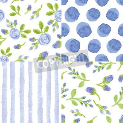 Acuarela Artistica Flores Azules Tiras Lunares Patron Transparente