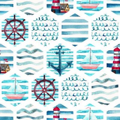 Cuadro Acuarela aventura patrón sin fisuras en estilo marino patchwork.