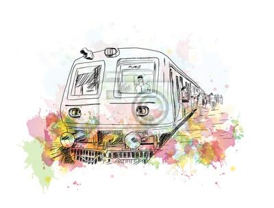 Cuadro Acuarela boceto de tren local de Mumbai en ilustración vectorial.