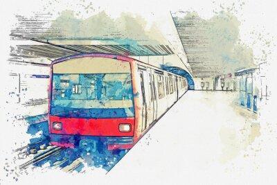 Cuadro Acuarela boceto o ilustración del metro de lisboa en portugal. Metro tradicional en la estación de metro.