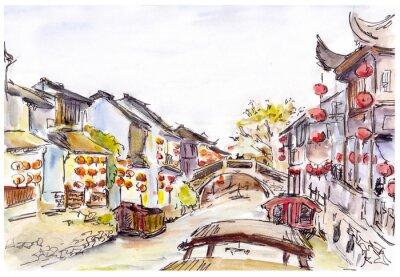 Cuadro Acuarela - canal de agua en el casco antiguo en China. Linternas rojas.