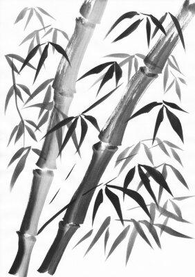 Cuadro Acuarela de dos tallos de bambú pintados con trazos de grunge. Aguada negra sobre papel blanco estudio.