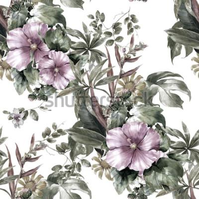 Cuadro Acuarela de hojas y flores, patrones sin fisuras sobre fondo blanco.