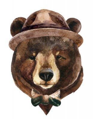 Cuadro Acuarela de la cabeza del oso