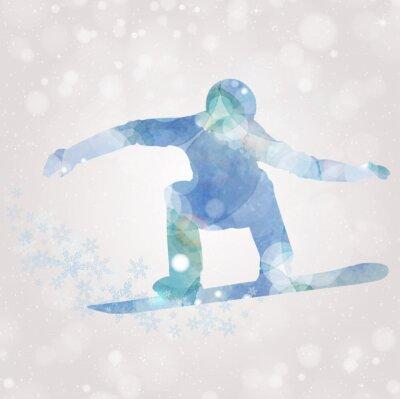 Cuadro Acuarela de la silueta del Snowboarder