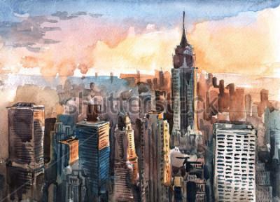 Cuadro Acuarela de los rascacielos de Manhattan al atardecer - torres de la ciudad de Nueva York