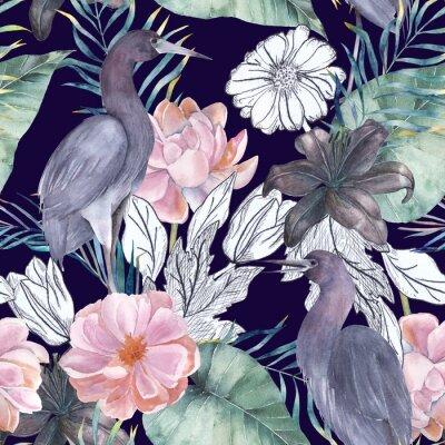 Cuadro Acuarela de patrones sin fisuras con elementos de tinta. Pájaros exóticos y flores. Ilustración dibujados a mano