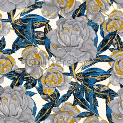 Cuadro Acuarela de patrones sin fisuras con peonías. Diseño floral. Fondo de la boda romántica. Modelo inconsútil del verano brillante. Papel pintado botánico.