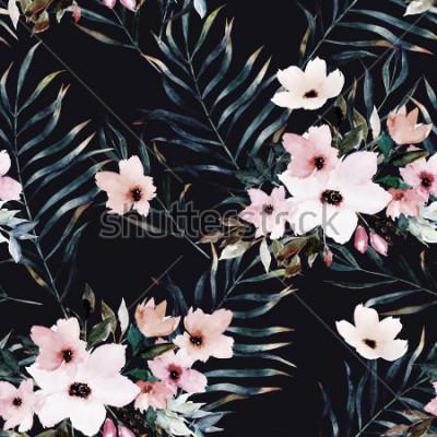 Cuadro Acuarela de patrones sin fisuras exóticos, hojas verdes tropicales, flores, ilustración botánica de verano sobre fondo negro