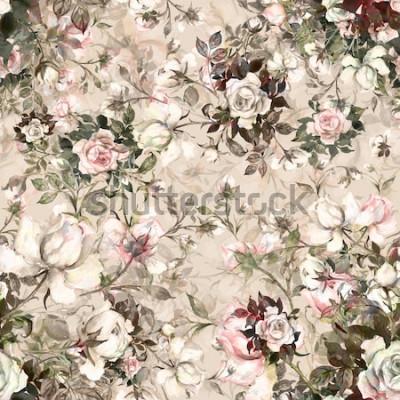 Cuadro Acuarela de patrones sin fisuras ramo de rosas en yema Y. Hermoso patrón para la decoración y diseño. Estampado de moda. Exquisito patrón de bocetos de acuarela de la flor. Tonificado.