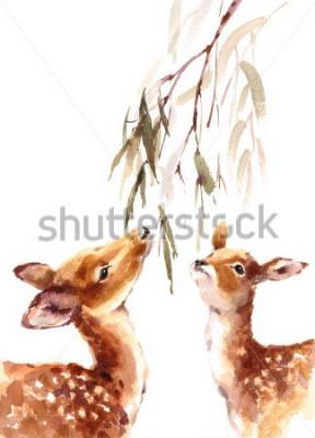 Cuadro Acuarela Dos ciervos mirando hacia arriba al brunch con hojas pintadas a mano ilustración aislada sobre fondo blanco