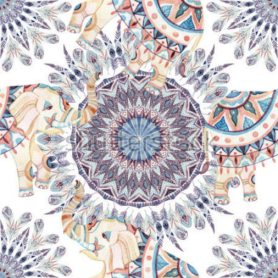 Cuadro Acuarela étnica elefante y plumas de fondo mandala. Modelo abstracto de la mandala abstracta de la pluma con los elefantes indios adornados en el fondo blanco. Pintado a mano ilustración para boho, d