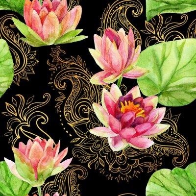 Cuadro Acuarela flor de loto en el ornamento de oro. Patrón transparente
