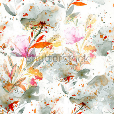 Cuadro Acuarela ingenua - verter y salpicar. motivos florales. Pintado a mano de patrones sin fisuras. Fondo para decoración y diseño textil. Papel pintado botánico. Marco floral boho chic art