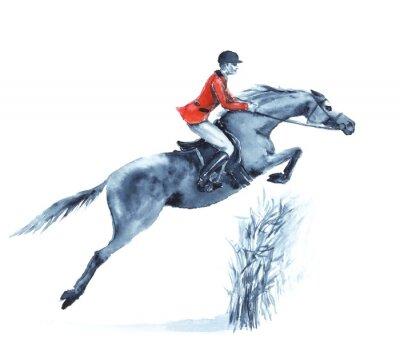 Cuadro Acuarela jinete y caballo, saltando un obstáculo en el bosque en blanco. Jinete en chaqueta roja en la competición de salto de obstáculos. Inglaterra deporte ecuestre. Ilustración de dibujo a mano.