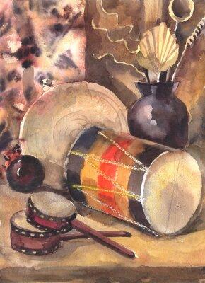 Cuadro Acuarela naturaleza muerta con un tambor