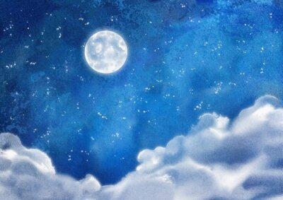 Cuadro Acuarela Nubes nocturnas