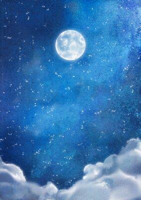 Cuadro Acuarela Nubes por la noche