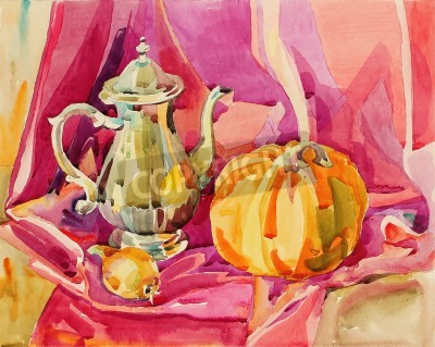 Cuadro acuarela original hecha a mano todavía la vida con olla de plata té y calabaza, composición del arte, ilustración vectorial