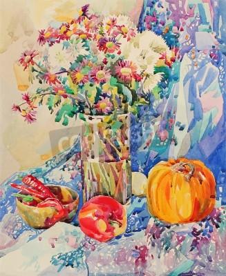Cuadro acuarela original naturaleza muerta con flores, calabaza, manzana, cortinas y pimiento picante, pintura impresionista, ilustración vectorial